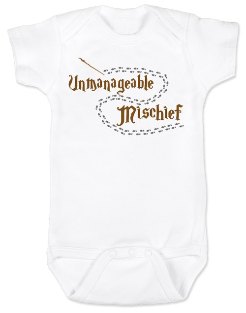 Unmanageable Mischief baby onesie, funny harry potter baby onesie, baby gift for harry potter fans, Mischief Managed baby onsie, Marauders Map baby onesie, Harry Potter infant bodysuit, snuggle this muggle, Hogwarts baby gift, white