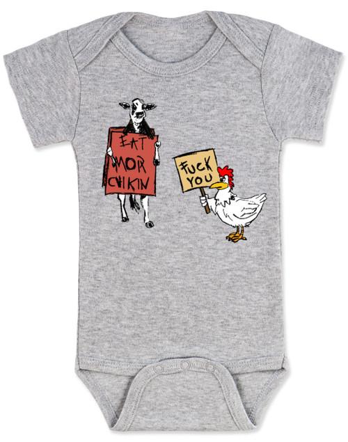 Eat more chicken baby onesie, fuck you cow chicken baby bodysuite, funny animals baby onesie, grey