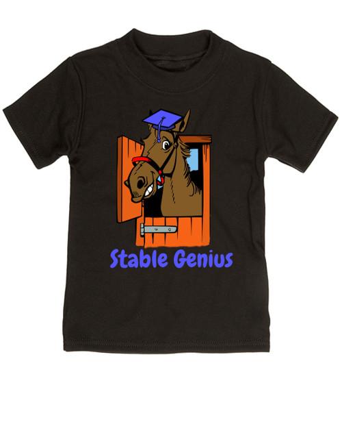 Stable Genius horse toddler shirt, black