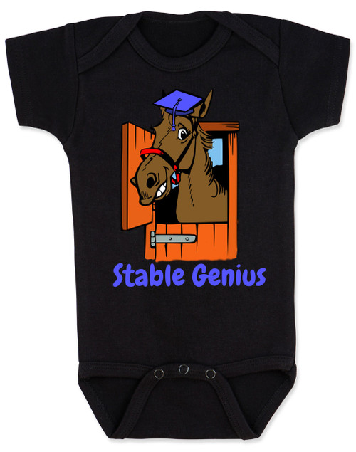 Stable Genius baby onesie, black