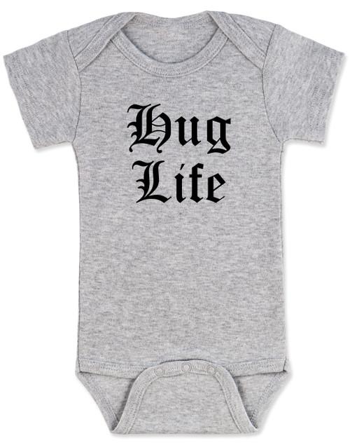 Hug Life gangsta baby onesie, grey