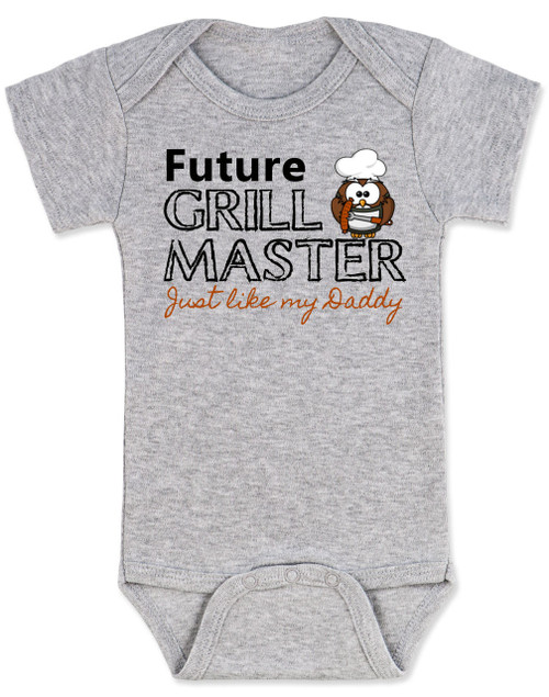 Future Grill Master baby onesie, grill master like daddy baby bodysuit, future cook like dad, personalized baby onesie for new parents who love to cook, grey
