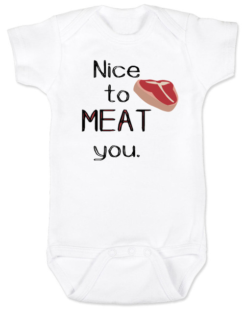 Nice to MEAT you baby onesie, nice to meet you baby onesie, funny cook baby bodysuit, baby gift for parents who love to cook, punny baby onesie, tbone steak funny baby onesie, baby pun, funny baby announcement onesie