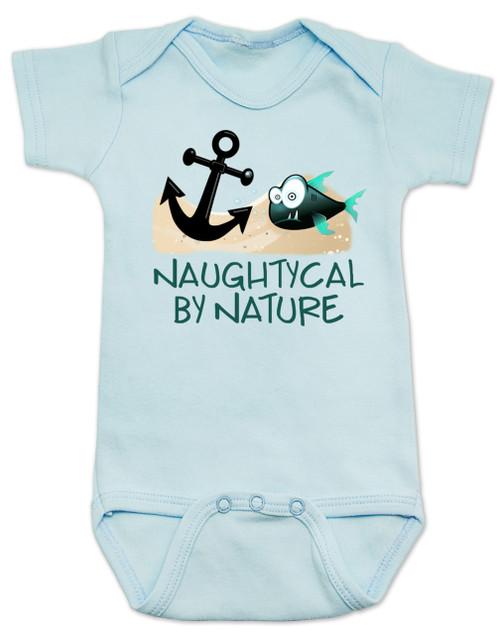 Naughtycal by nature baby Bodysuit, Naughty by nature baby, Ocean baby bodysuit, nature baby onsie, Nautical baby gift, funny fish baby Bodysuit, blue