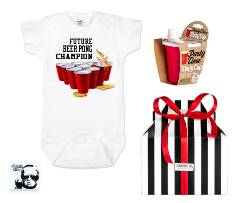 Baby Beer Pong Gift Set, Future Beer Pong Champion, Party people parents, gift for parents who still party, Red solo sippy cup, Beer pong baby gift