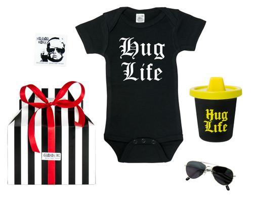 hug life baby gift, thug life baby, thug life toddler, hug life gift set, hip hop baby gift, gangster baby gift, gangsta toddler, hug life gift box, hug life sippy cup