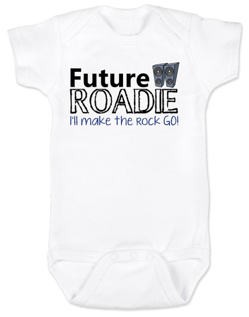 Future Roadie baby Bodysuit, Roadie baby, rock and roll baby gift, personalized rock baby shower gift, Roadie like dad, future rockstar, white