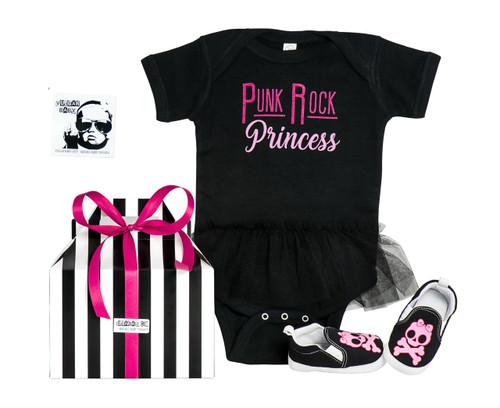 Punk Rock Princess gift set, cool baby girl gift, rock and roll princess, punk rock baby present, badass baby gift box, black tutu onesie and skull shoes, punk rock princess tutu onesie, metal baby girl, rock baby shower gift