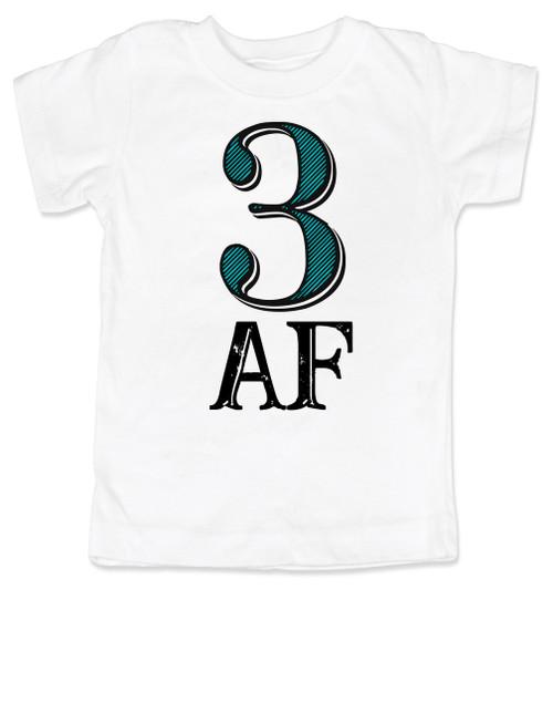 Toddler AF shirt, 3 AF, 3AF shirt, funny 3 year old shirt, custom birthday shirt, toddler birthday shirt, cool gift for 3 year old