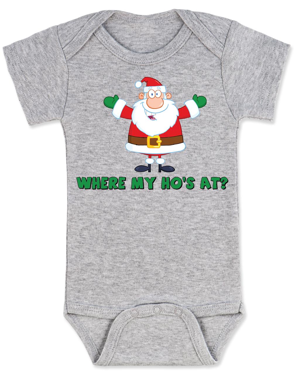 where my hos at baby onesie ho ho ho baby onesie badass santa claus - Santa Hohoho 2