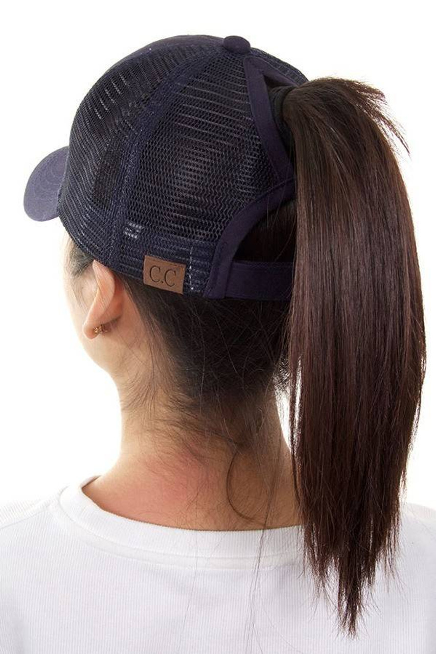 0b529307542 Hats with openings for buns and ponytails!