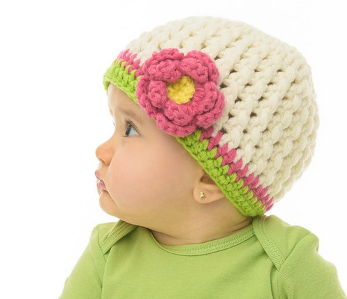 juDanzy Crocheted Flower Beanie 6-12 months