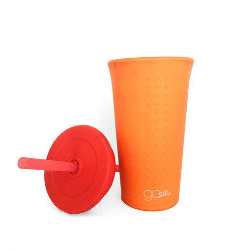 Silikids 16 oz Silicone Cup with Lids and Straw