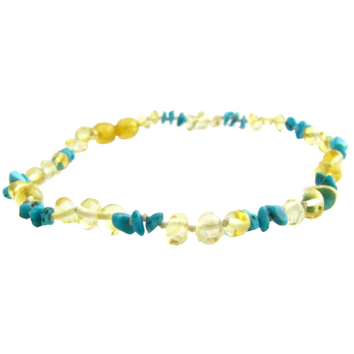 Baltic Amber & Gemstone 12-13 inch Necklace - Lemon Turquoise Chips by Amber Monkey