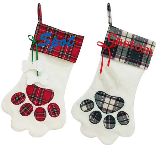Embroidered Pet Stocking Red Black Gingham