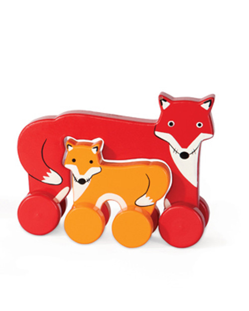 FOX PARENT AND BABY ROLLING TOY