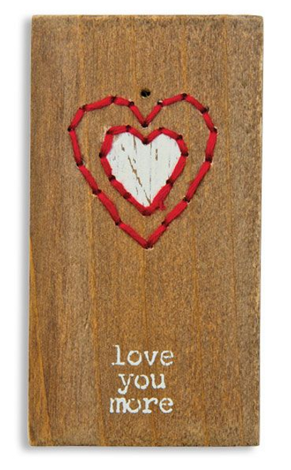 Stitched Wood Block Magnet - Love You More