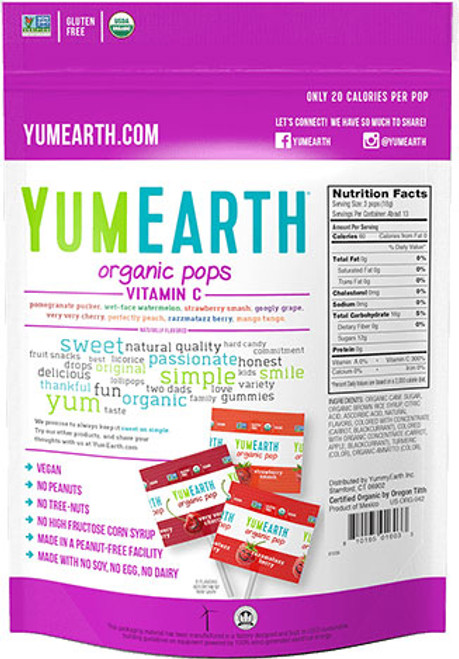 Organic Assorted Flavors Vitamin C Lollipops  8oz YumEarth