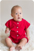 Baby Romper Sewing Pattern: Shorts, Standard Neckline and Sleeves sewn in Knit