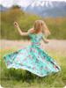 Short sleeves, scoop back, maxi length twirl skirt