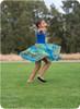 Sleeveless, standard back, knee-length twirl skirt