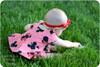 Short sleeves, scoop back, peplum twirl skirt
