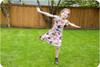 Short sleeves, scoop back, knee-length a-line skirt