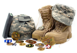 SGT Cesnick's boots, helmet, and service decorations