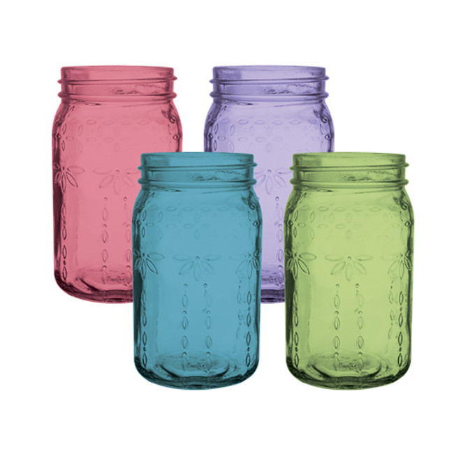 "Jardin Vintage Jar 6 1/2"" Asst colors 24cs"