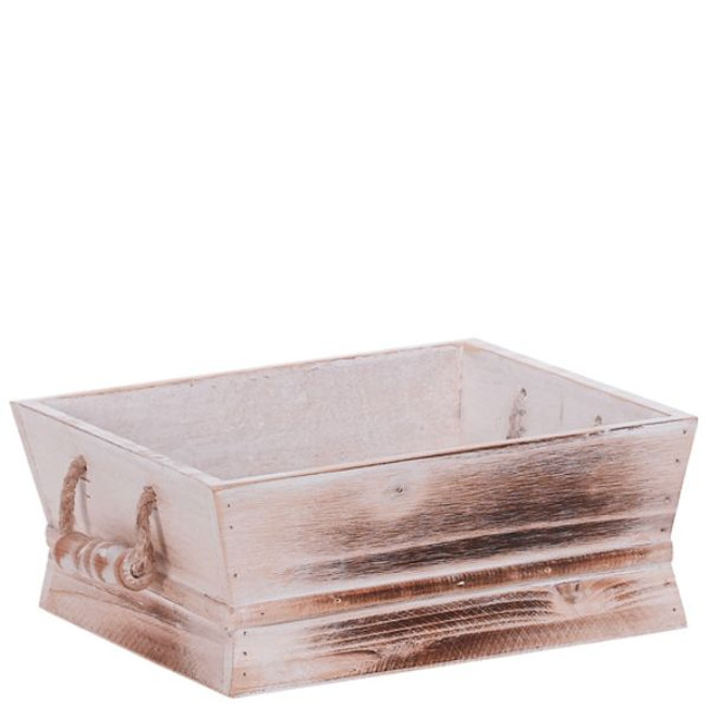 "Square Whitewash Wooden Container w/ handle 7.25""x7"" each"
