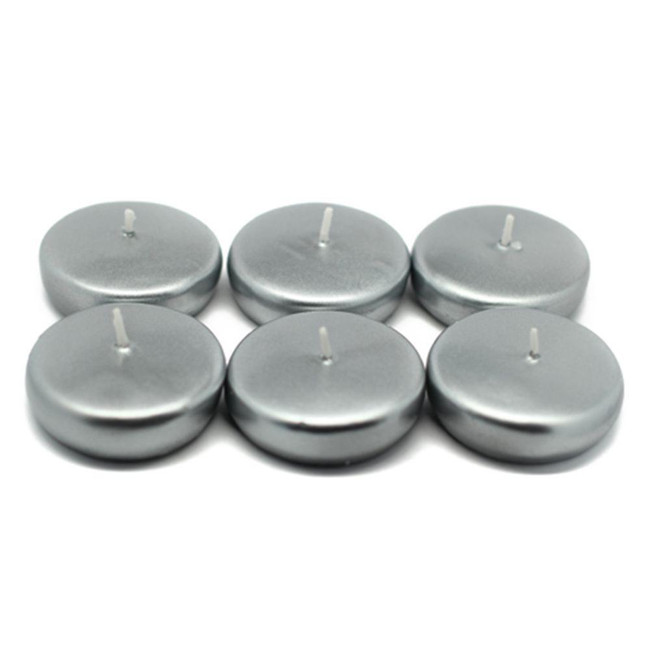 "Floating Candles 2"" Silver metallic 6pack"