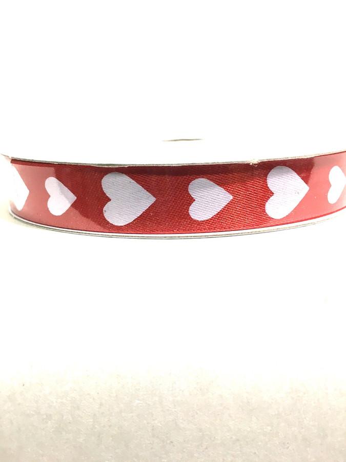 #3 red stn w/ wht hearts 50yrd
