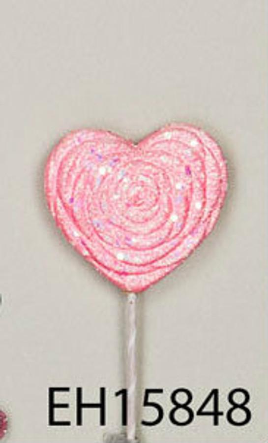 PICK Glitter Pink Heart 80mm 5848