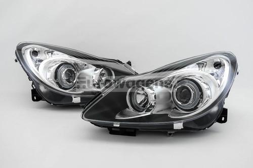 Angel eyes headlights set black Vauxhall Corsa D 06-11