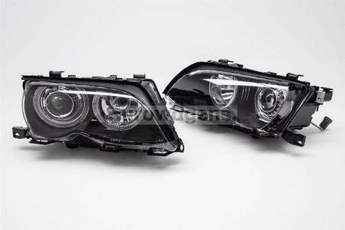 Angel eyes headlights set black BMW 3 Series E46 01-05 4 door