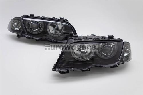 Angel eyes headlights set black BMW 3 Series E46 01-05 4/5 door