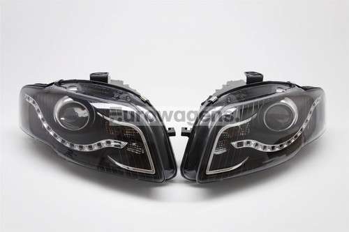 Headlights set DRL black Audi A4 B7 04-07