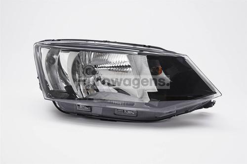Headlight right black Skoda Fabia 15-17