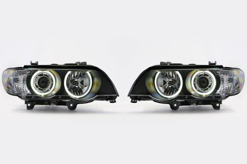 Angel eye headlights set black LED BMW X5 E53 00-03