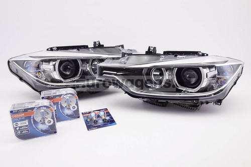 Angel eyes xenon look headlights set with bulbs Osram Cool Blue Intense BMW 3 Series F30 F31 12-15