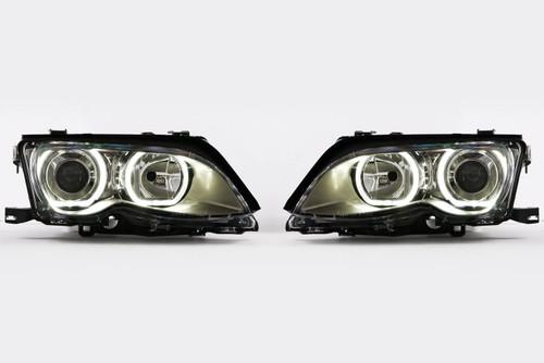 Angel eyes headlights set chrome LED BMW 3 Series E46 01-05 4 5 door