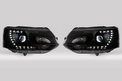 Headlights set black LED DRL xenon look VW Transporter T5 Caravelle