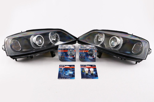 Angel eyes headlights set black Vauxhall Astra G MK4 98-04 with Osram bulbs