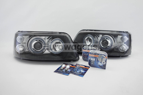 Angel eyes headlights set black VW Transporter Caravelle T5 03-09 with Osram bulbs