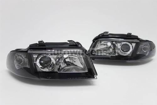 Headlights set black Audi A4 99-01