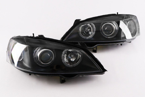 Angel eyes headlights set black Vauxhall Astra G 98-04