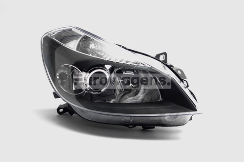 Headlight right black with cornering Renault Clio MK3 05-08
