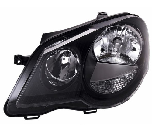 Headlight left black VW Polo 9N3 05-09