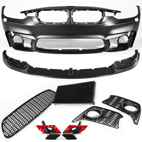 Front bumper with spoiler splitter M3 look BMW 3 Series F30 12-