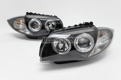 Angel eyes headlights set black BMW 1 Series E87 04-11